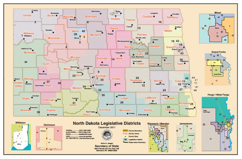 North Dakota Districts for Voting
